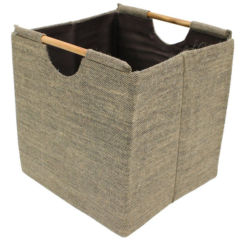 Jute Square Fabric Storage Baskets With Wood Handles Fabric Storage Baskets Fabric Storage Storage Baskets