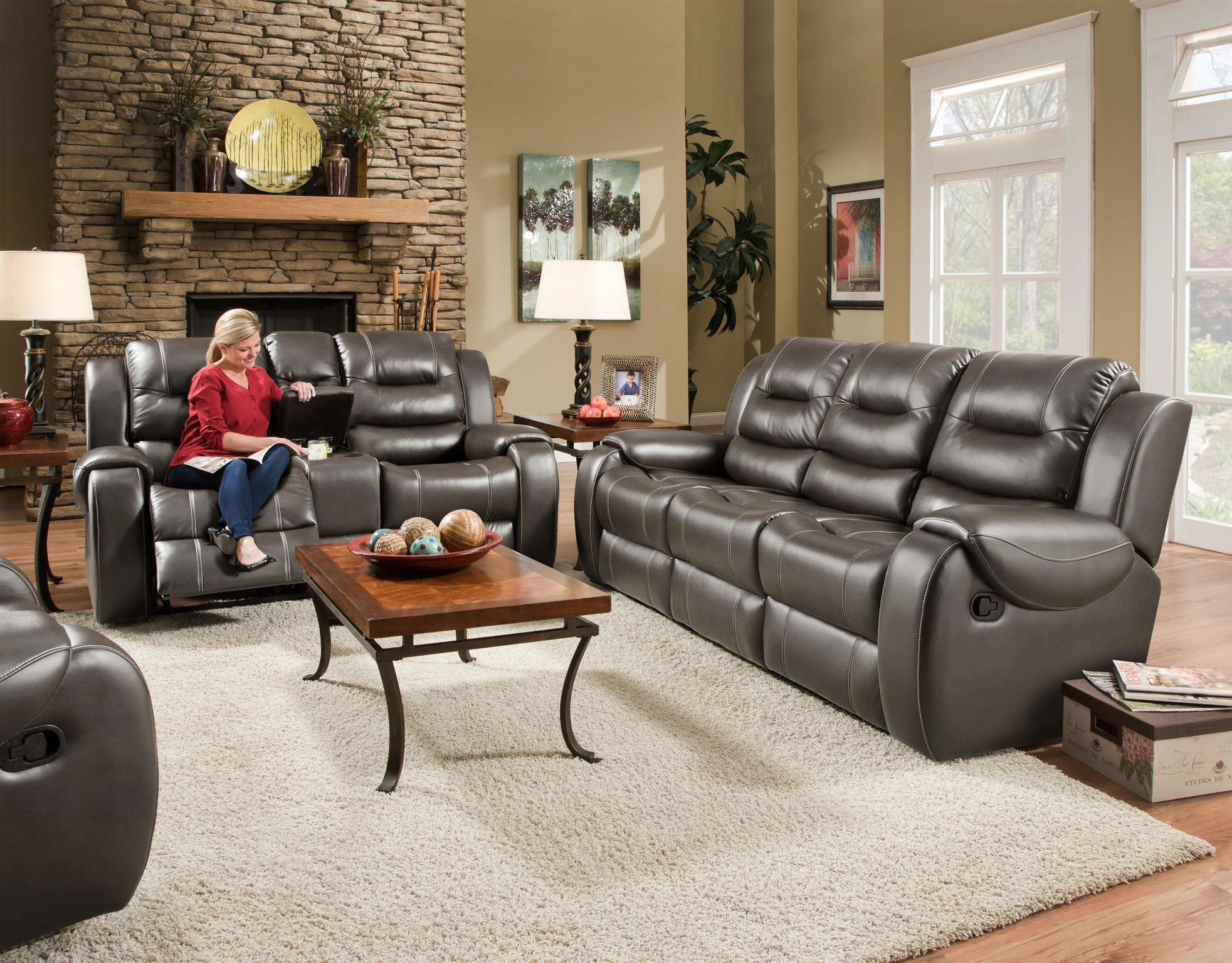 Jamestown Smoke Motion Sofa And Console Love Seat By Corinthian. 2 Recliners  In Each Piece. Nice FurnitureLiving Room ...