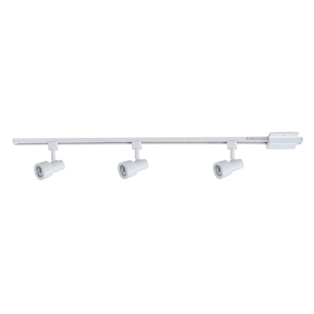 Hampton Bay 3 Light Matte White Mini Gu10 Step Head Linear Track Lighting Kit
