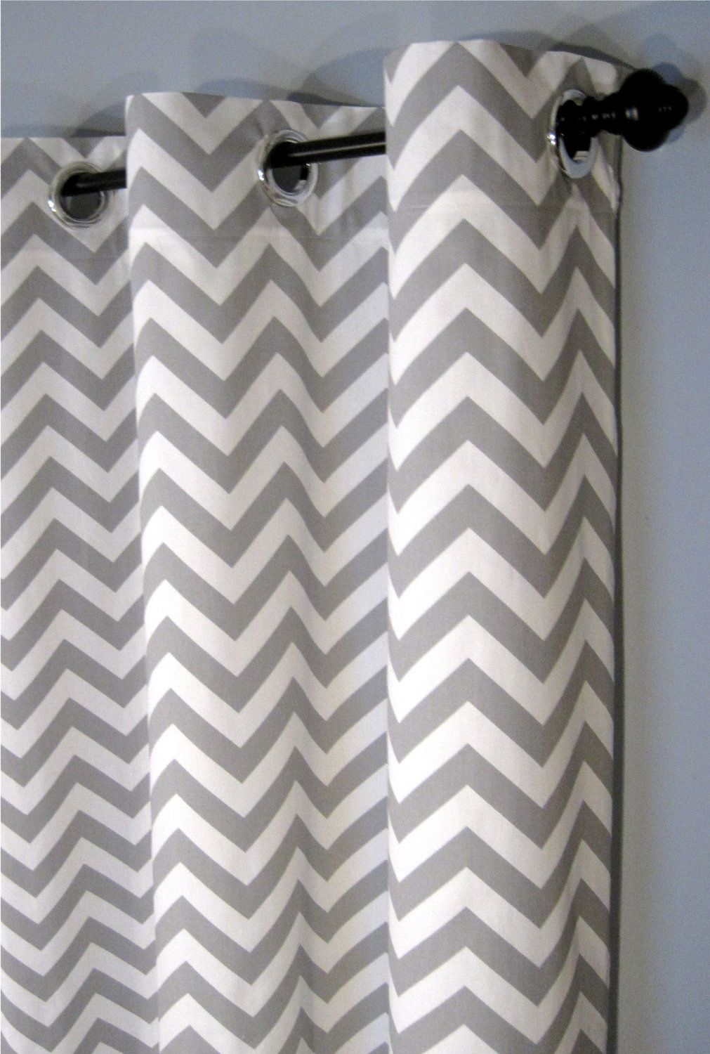 25 X 84 Inch Grey Zig Zag Grommet Curtains Two Chevron Curtain