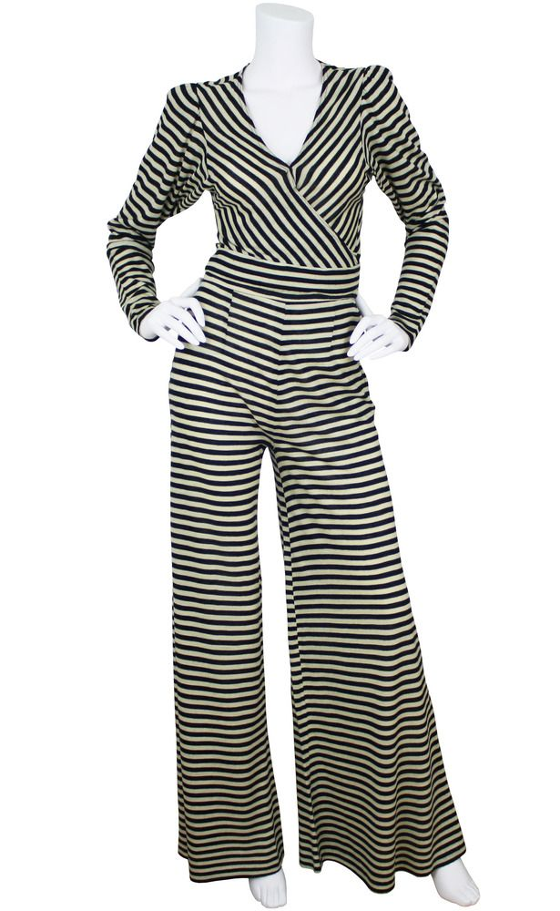 4e66165f58 70 s Striped Wool Jersey Palazzo Pant Two-Piece Suit