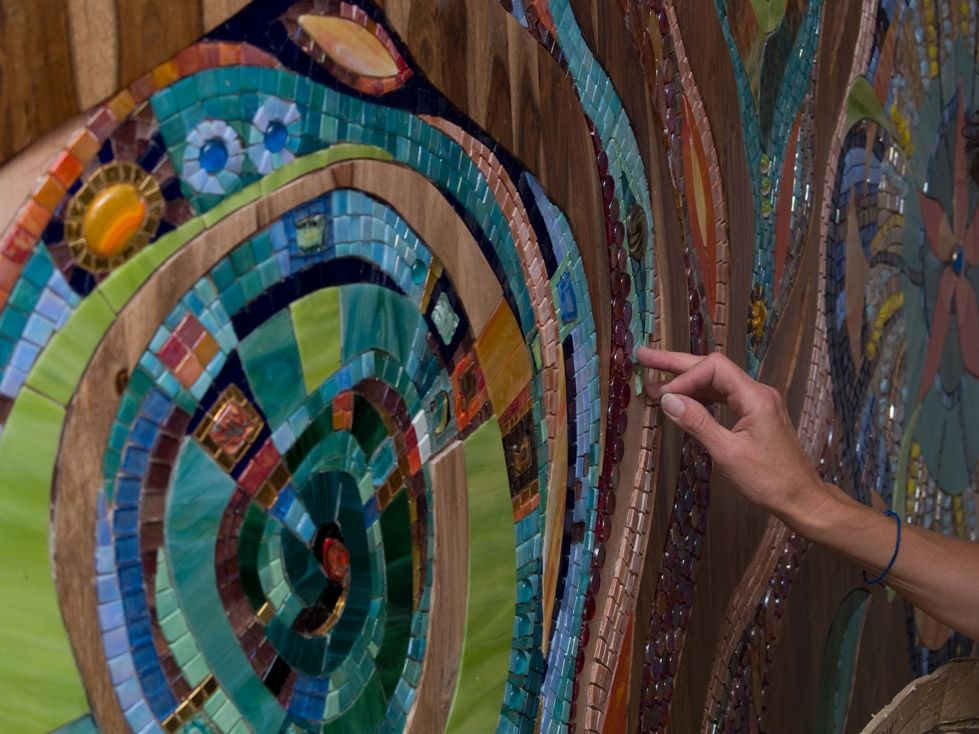 Katrin Brockmuller Designed This Mosaic Mural For The Coffee Shop