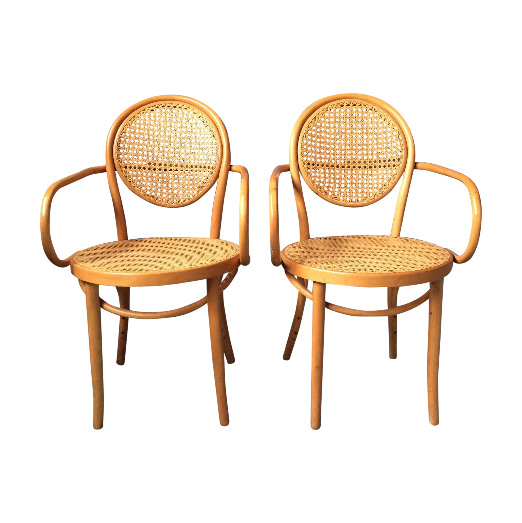 vintage thonet bentwood cane arm chairs pair on chairishcom