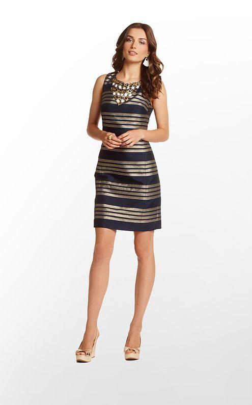 Virginia Dress in True Navy Glam Metallic Stripe $328 (w/o 12/1/12) #lillypulitzer #fashion #style