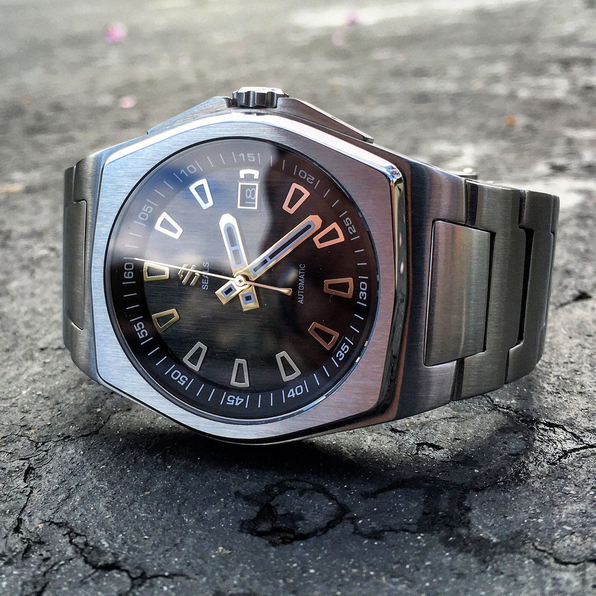 359457daa8 Stainless Steel With Brushed Black Dial on Steel Bracelet Automatic Watch