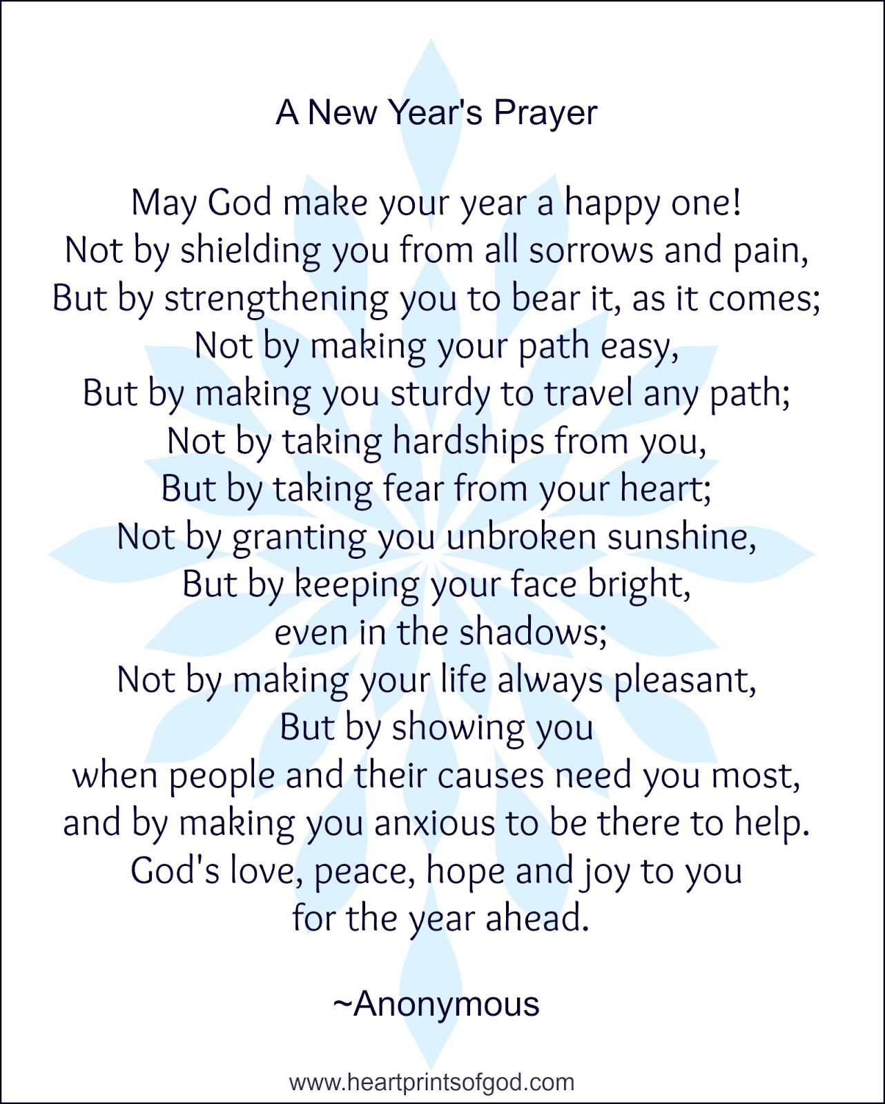 Heartprints of God A Prayer for You New years prayer