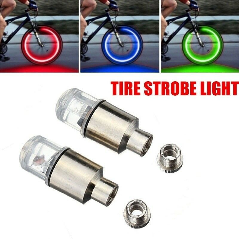 2x Led Tire Valve Stem Caps Neon Light Auto Accessories For Bike Bicycle Car Bicycle Light Ideas Of Bicycle Ligh Bicycle Lights Bike Lights Led Bike Lights