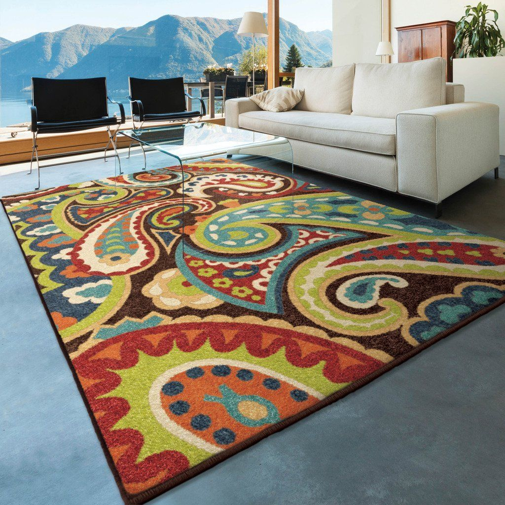 Com Orian Rugs Indoor Outdoor Paisley Monteray Multi Area Rug 5 Bright Colorsindoor