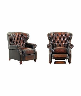 Arthur Chesterfield Leather Tufted Wingback Recliner Chair