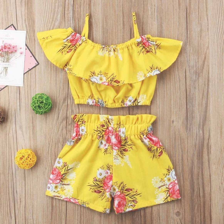 2PCS Toddler Baby Kid Girl Summer Crop Tops T-shirt Floral Shorts Pants Outfits