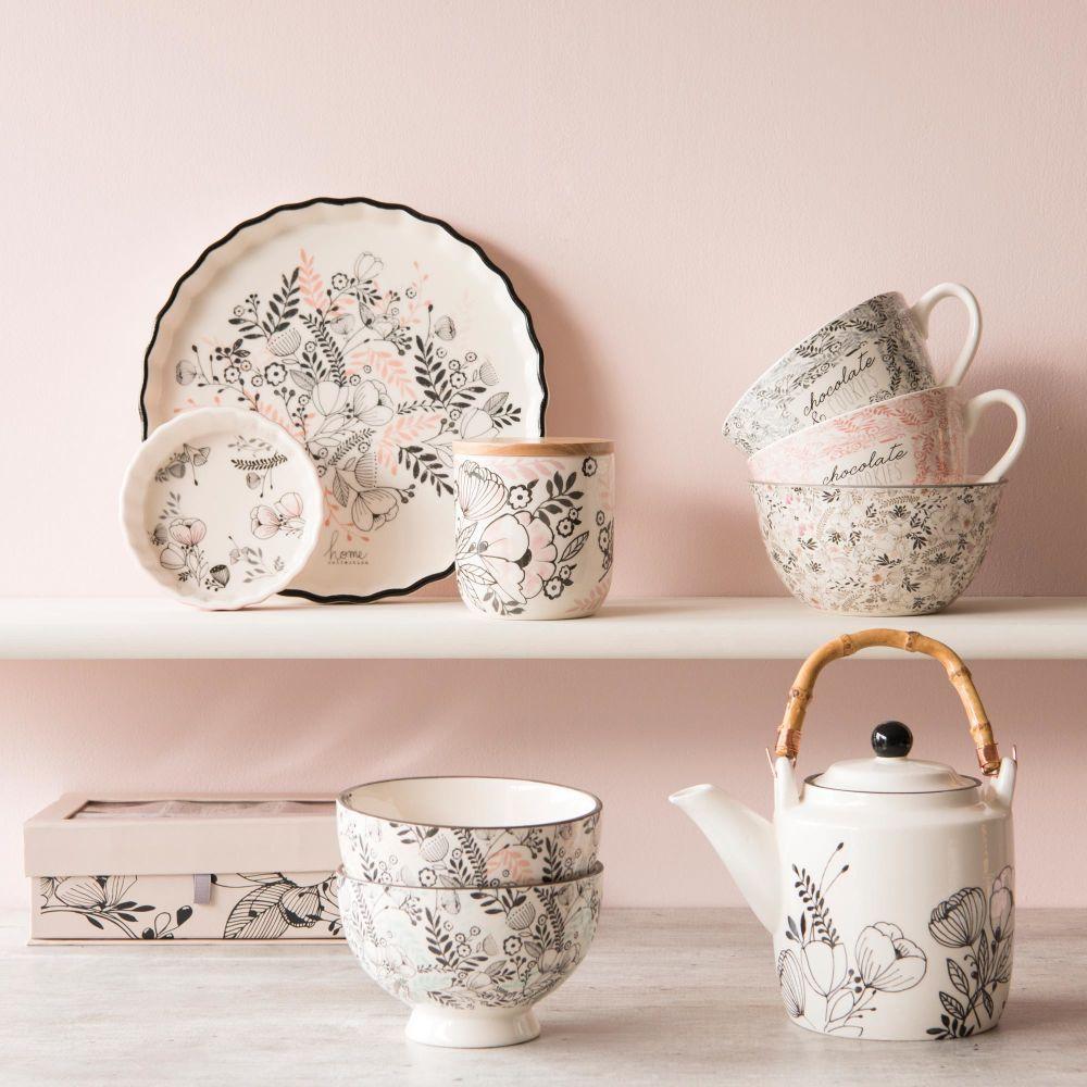 Set Of 6 Porcelain Cups With Floral Motifs Maisons Du Monde Maison Du Monde Motif Floral Soldes Maison Du Monde
