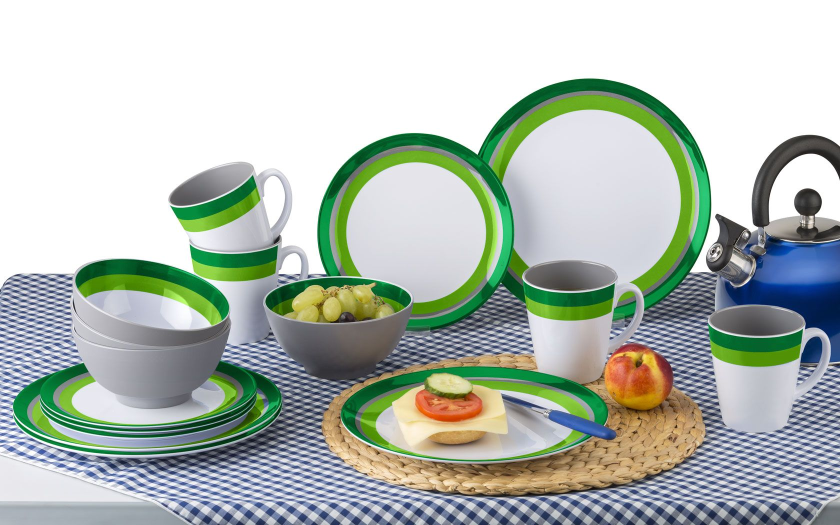 Abstract by MP Essentials Fishing /& Travel Portable Melanine 16pc Dinner Set 100/% Melamine Camping