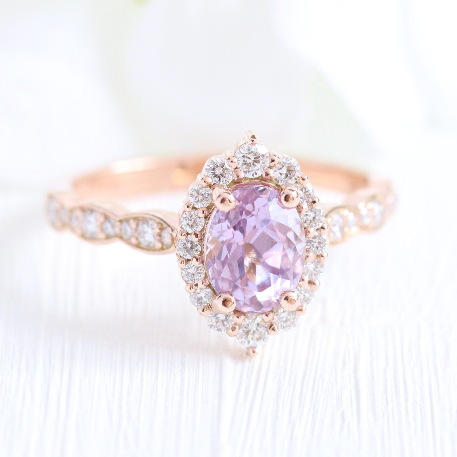 Rose Gold Purple Sapphire Engagement Rings