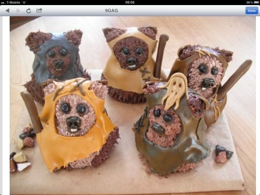 Starwars ewok cupcakes!