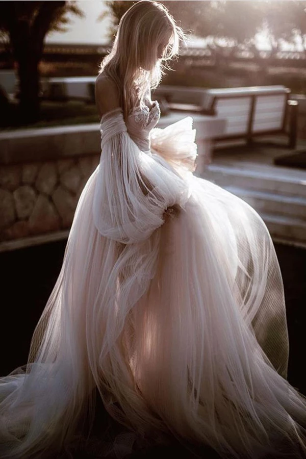 Vintage Gothic Lace Princess Wedding Dress Off-shoulder Long Sleeve Bridal Gown