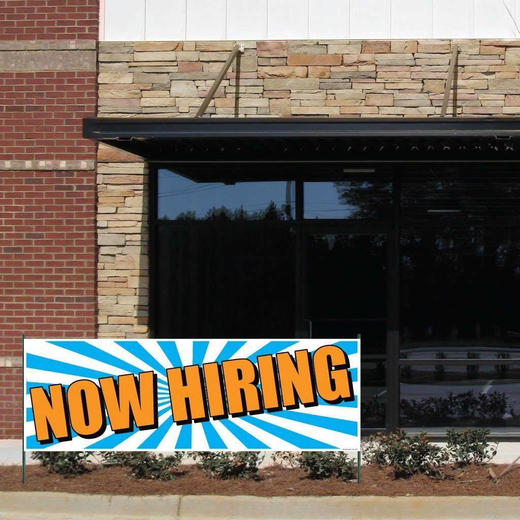 Now Hiring Vinyl Banner With Grommets In 2020 Vinyl Banners Banner Sign Display