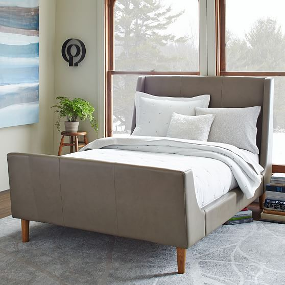 upholstered leather sleigh bed. Beautiful Leather Leather Sleigh Bed  Elephant Gray Throughout Upholstered N