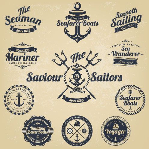 Classic sea buoy stickers 02 - vector material   Grafika