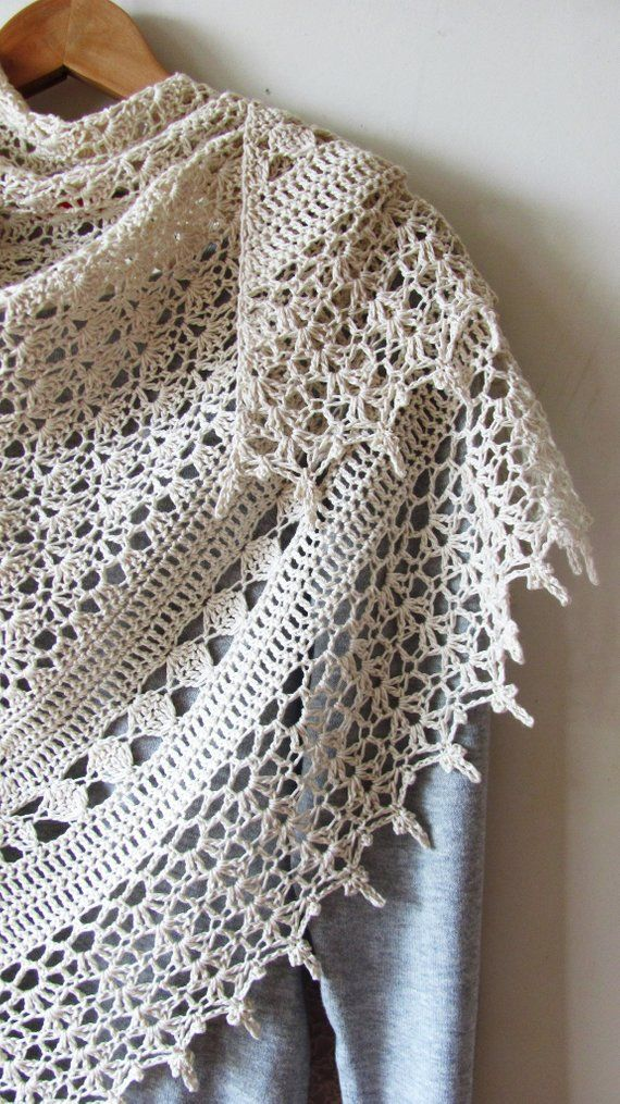 Crochet Cotton Shawl White Ivory Summer Shawl Wedding | Etsy