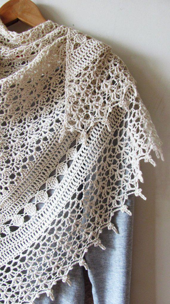 Crochet Cotton Shawl White Summer Shawl Rustic Wedding | Etsy
