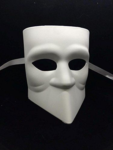 Unpainted Blank Mask Bauta Mask Mens Masquerade Mask for Costume Party DIY Mask >>> You can find out more details at the link of the image. (Note:Amazon affiliate link)