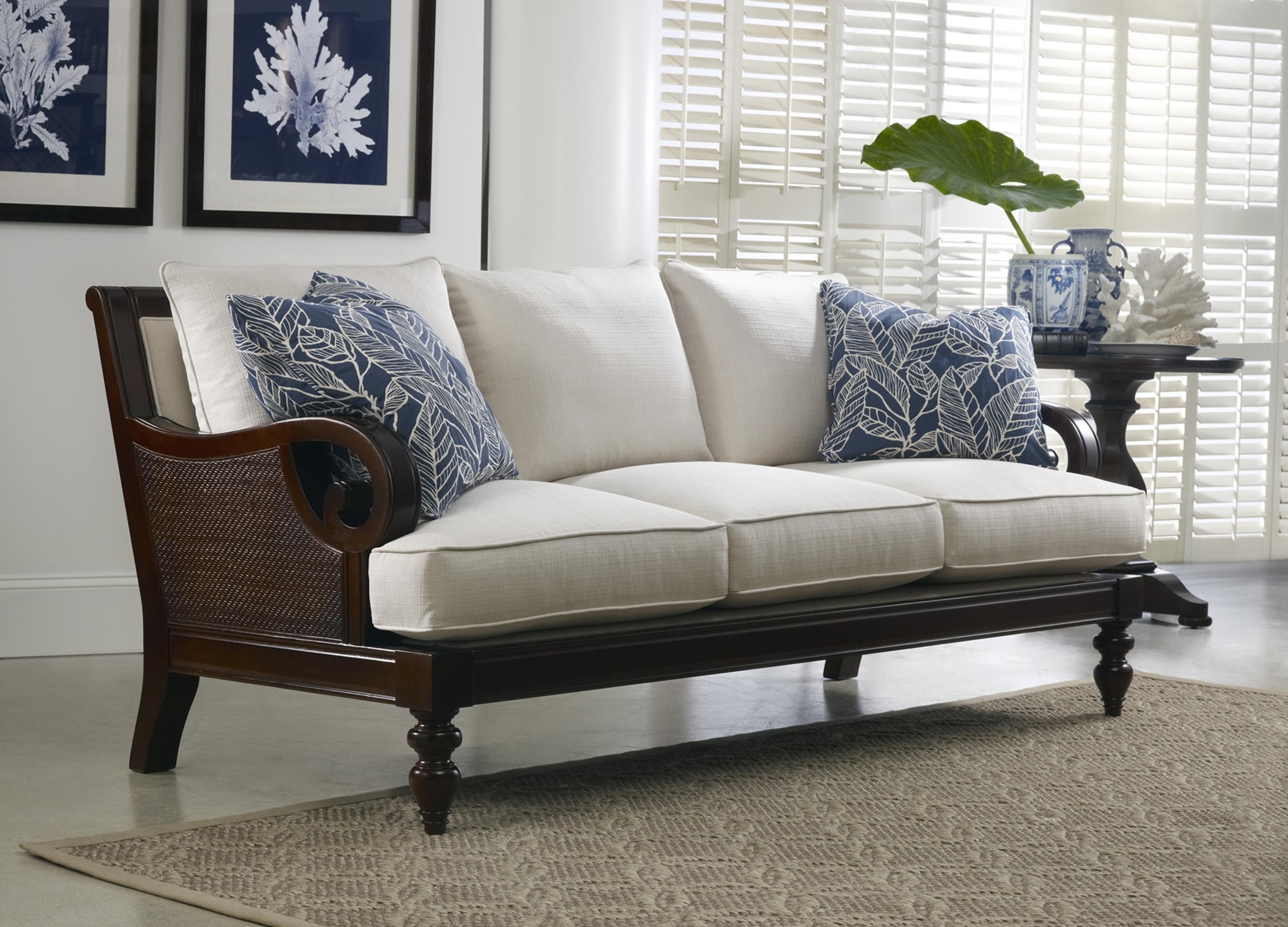 Attractive Tailynn Tropical Sofa With Exposed Wood And Scrolled Arms