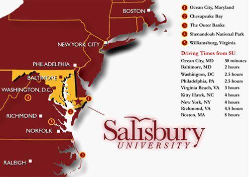 Salisbury University is centrally located in the Mid-Atlantic region ...