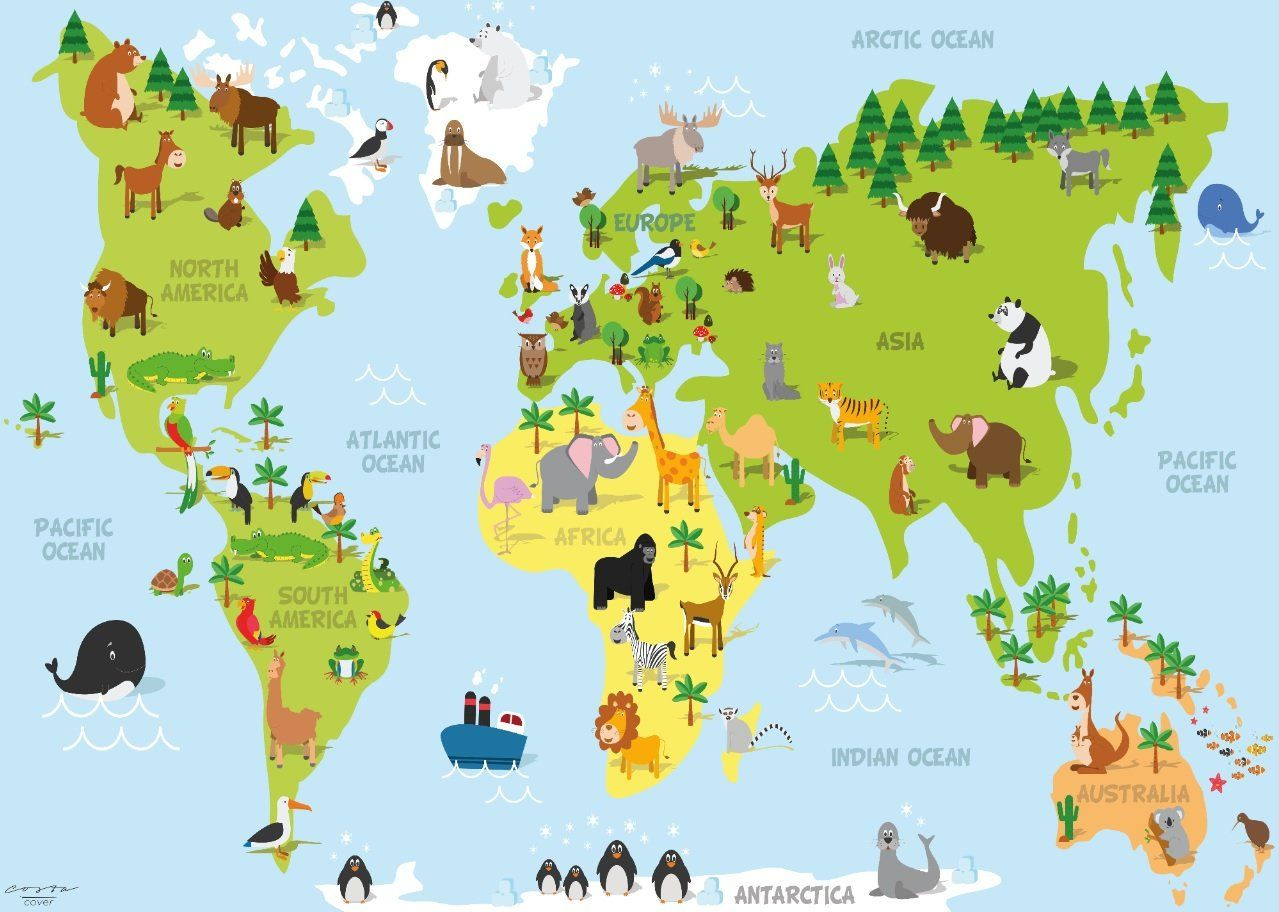 World map decor Animal Removable Adhesive Kid School eco
