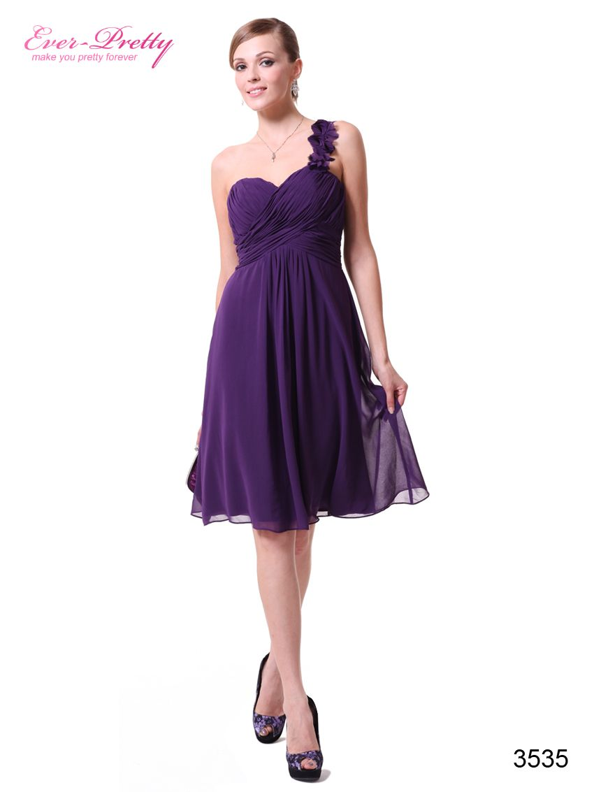 3f3b3a48df One Shoulder Flowers Purple Padded Ruffles Bridesmaid Dress - Ever-Pretty