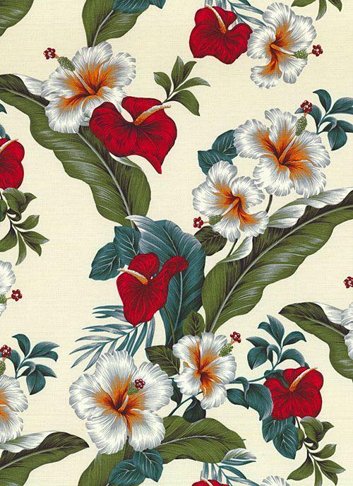 Vintage Aloha - Hibiscus & Anthurium - Cream - BARK CLOTH