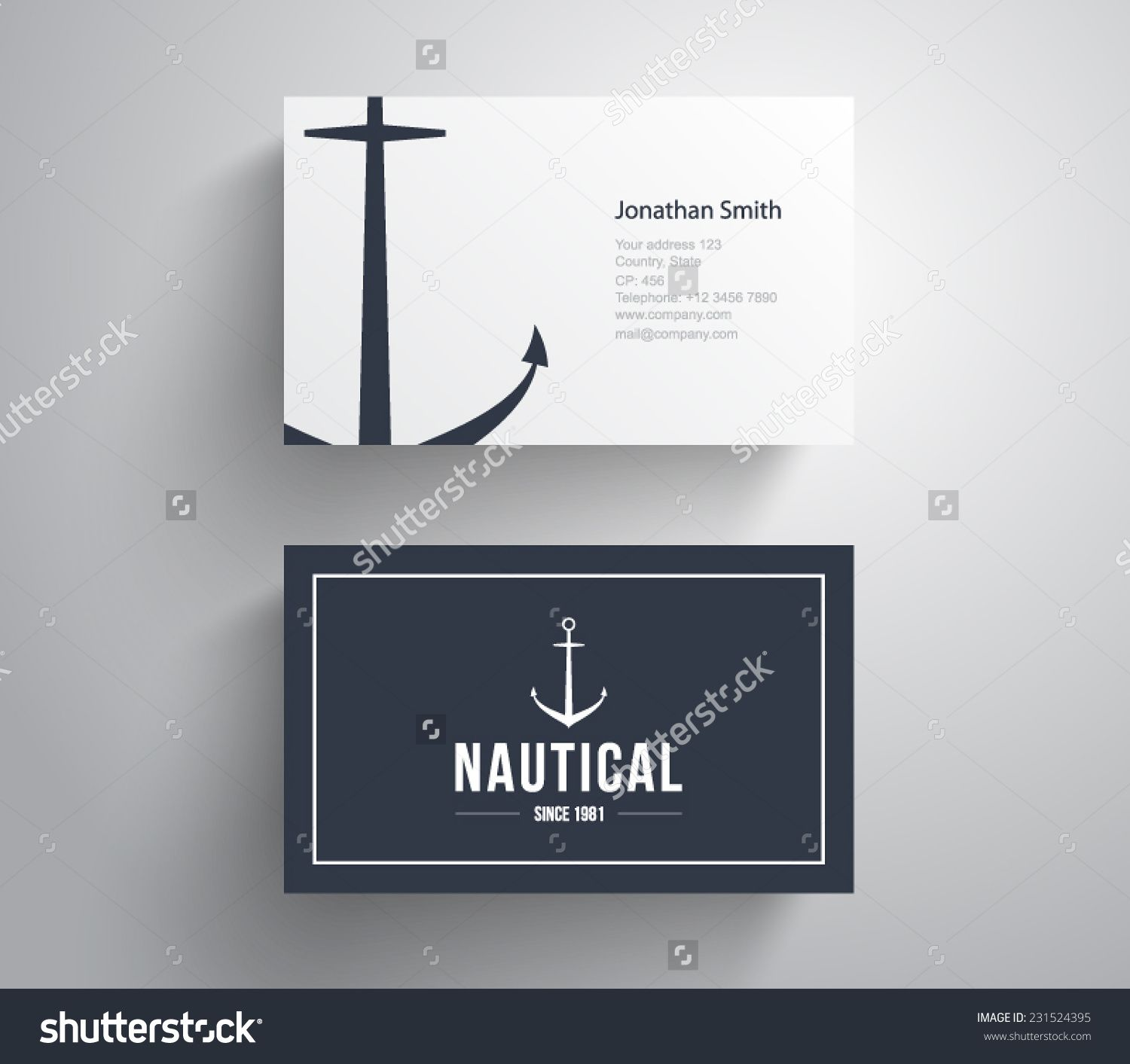 stock vector business card with retro vintage logo marine nautical