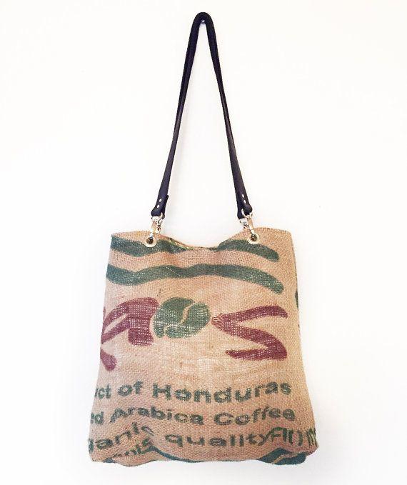 Recycled coffee bean sack tote bag