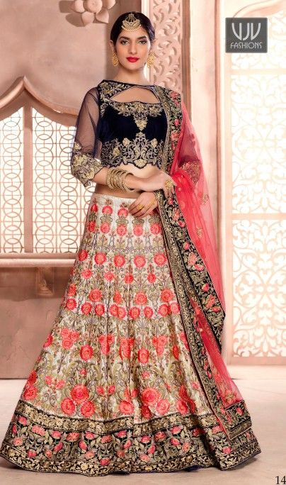 Tempting Cream Color Art Silk A Line Lehenga Choli Cream art silk a line lehenga choli with stone work enhances the heavy embellished embroidered floral patterns all over the lehenga