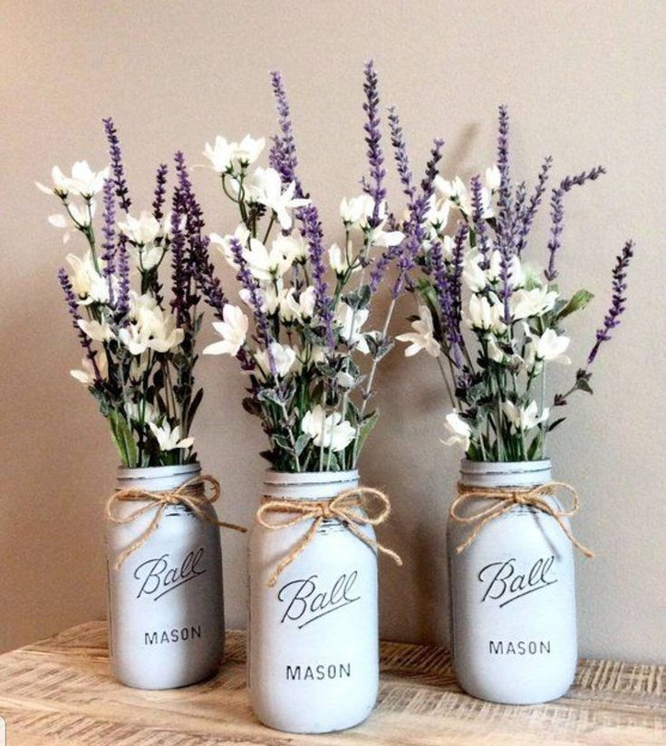Chalk Paint Mason Jars – center pieces – Decor – Wedding