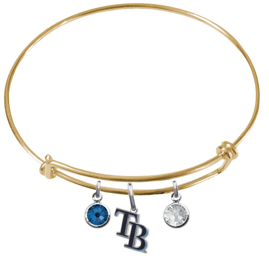 Tampa Bay Rays Style 2 Color Edition MLB Expandable Wire Bangle Charm Bracelet