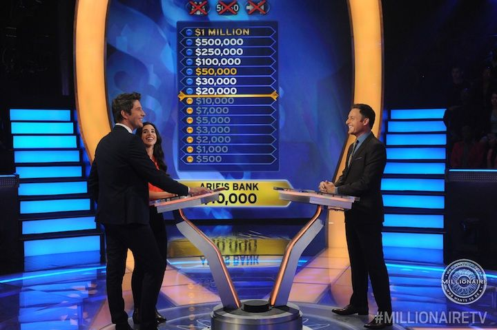 """Today, """"The Bachelorette's"""" Arie Luyendyk Jr. is the first fan favorite from the ABC-TV franchise playing #MillionaireTV for charity this week. And his +1 lifeline is there helping Arie try to win $1 million from host Chris Harrison. Don't miss it as they kick off this special all-new week of """"Millionaire."""" Go to www.millionairetv.com for time and channel to watch all week long."""