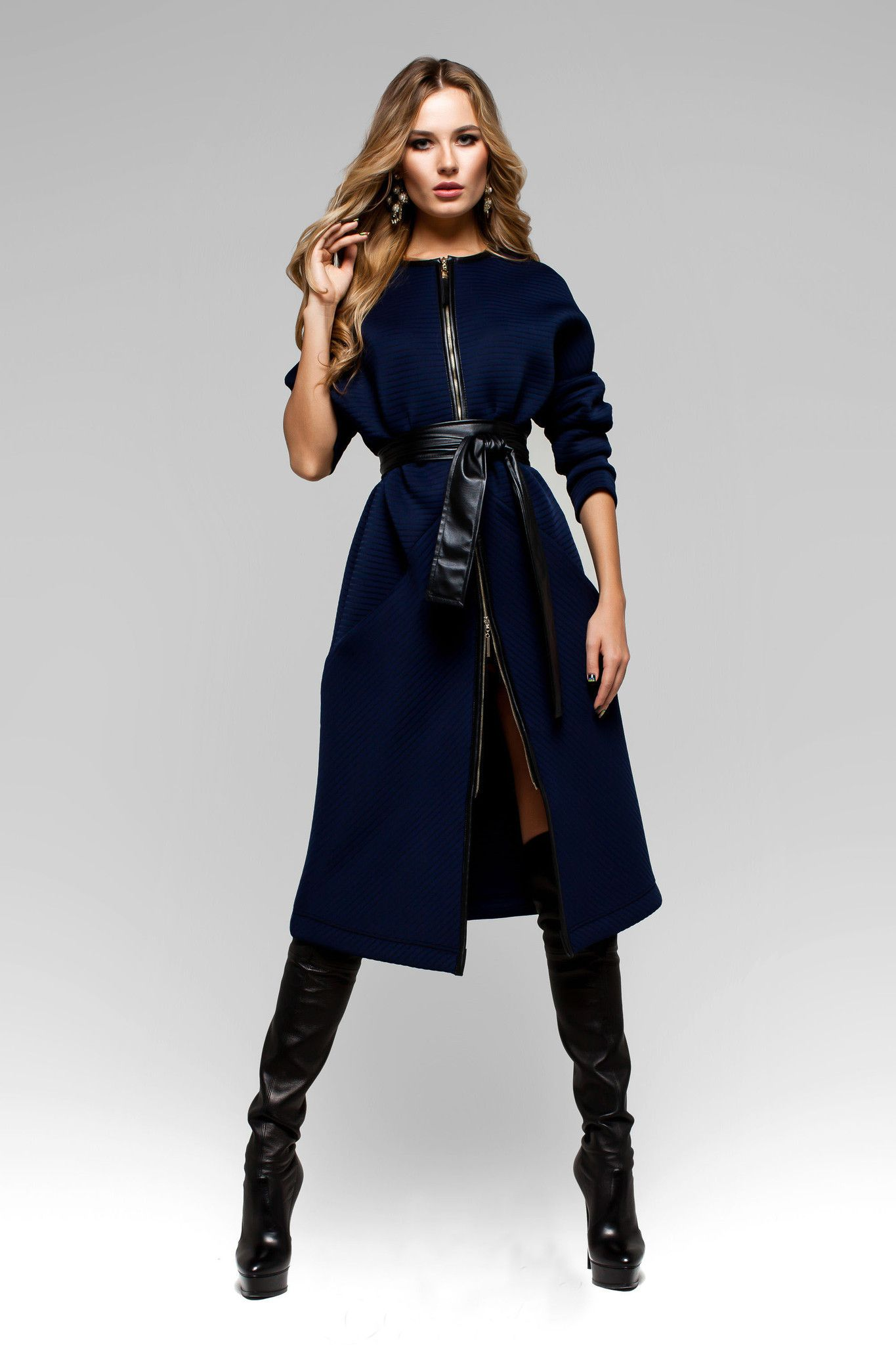 UGHI Royal Blue Coat with Wide Belt