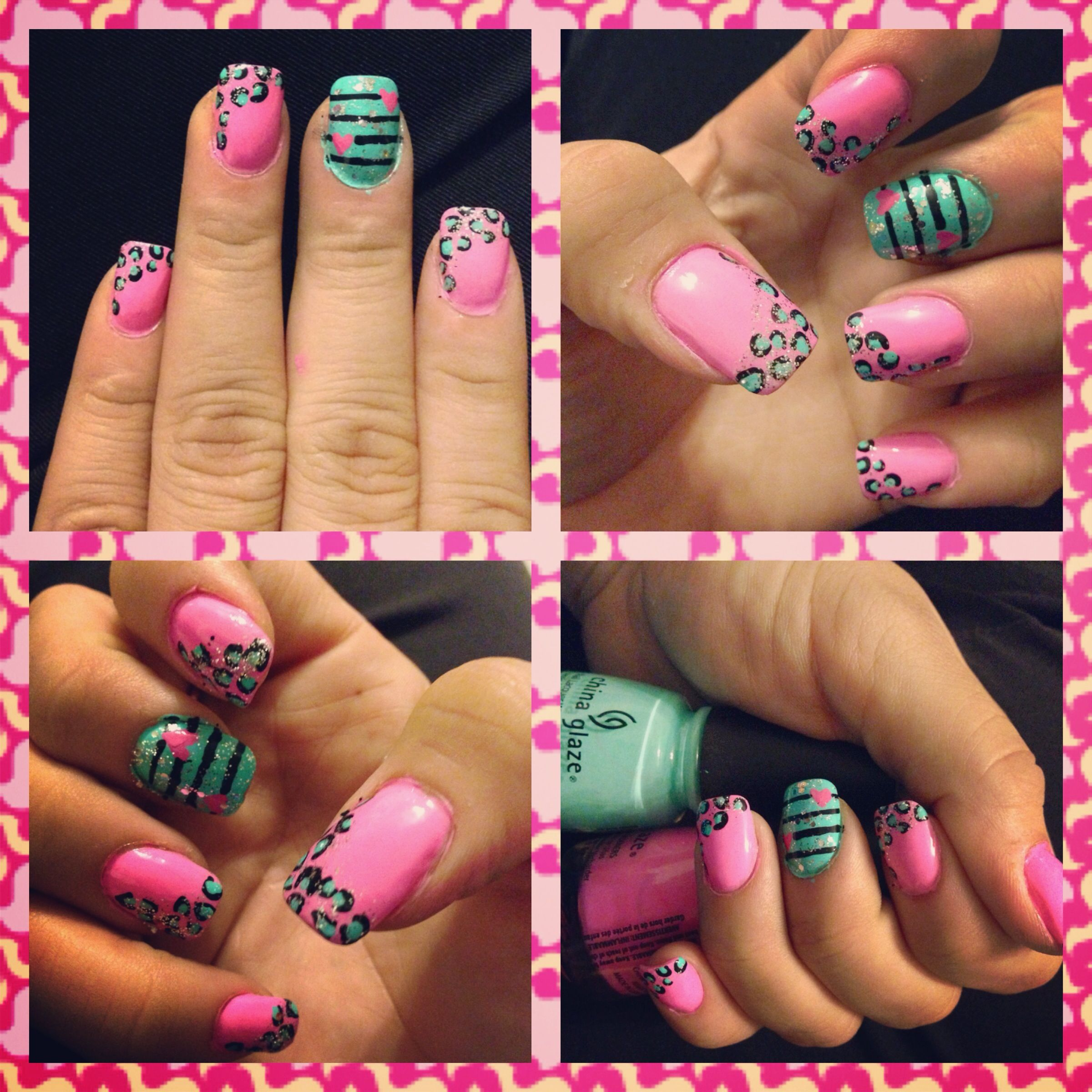 Nail design I did at 2:16 am :) leopard print sparkle color and ...