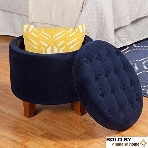 Dark Navy Blue Ottoman Round Legs Large Button Tufted Round