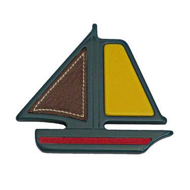 1stdibs.com | 1990s PRADA Bakelite & Leather Sailboat Brooch
