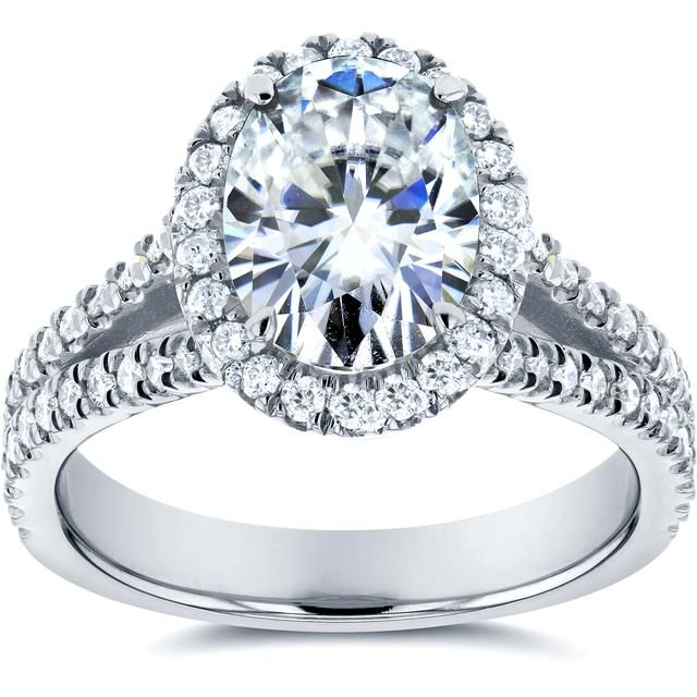 2 CT TW Forever Classic Moissanite 14K White Gold Halo Engagement Ring with Diamond Accents
