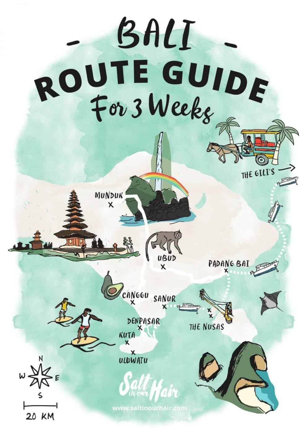 3 week bali route map