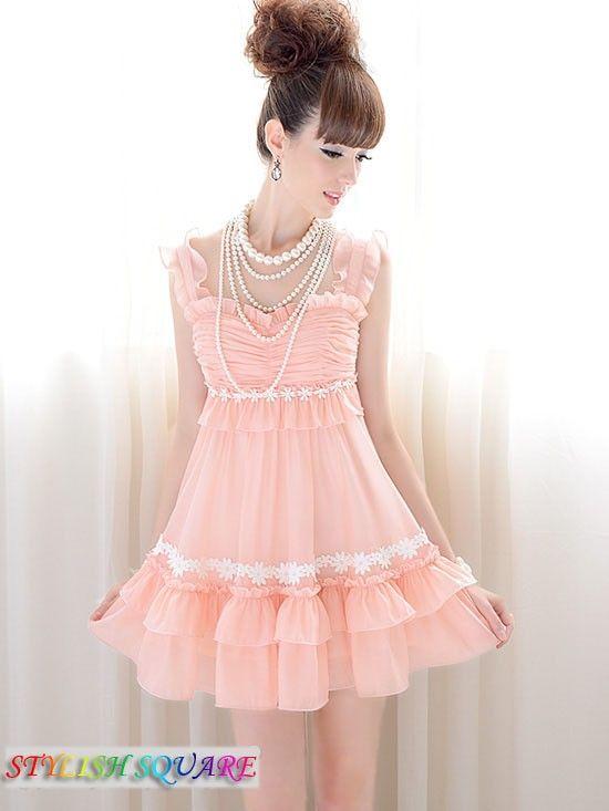 Pink Flounced Fold Splicing White Lace Large Swing Sleeveless Dress ...