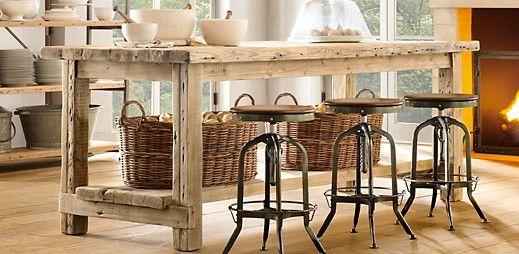 Salvaged Wood Kitchen island Restoration Hardware/ inspiration to