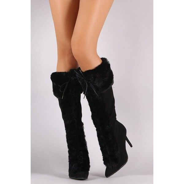 05473b7543b4 Qupid Faux Fur Suede Lace Up Pointy Toe Stiletto Boots ( 58) ❤ liked on
