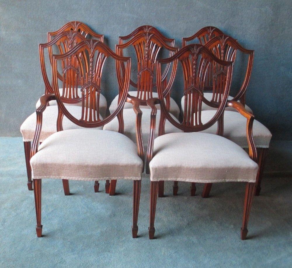 Set Of 6 2 Mahogany Hepplewhite Style Shield Back Chairs Chair