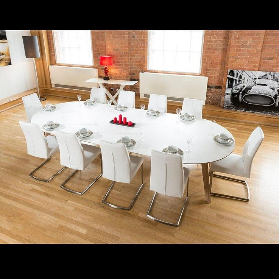 Large 3400mm Oval Boardroom Dining Table Set With 10 White Chairs