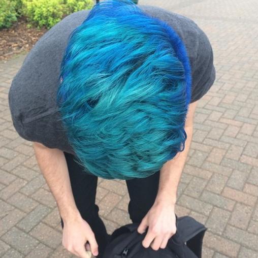 Because mermen exist too! Electric Blue men's blue hair