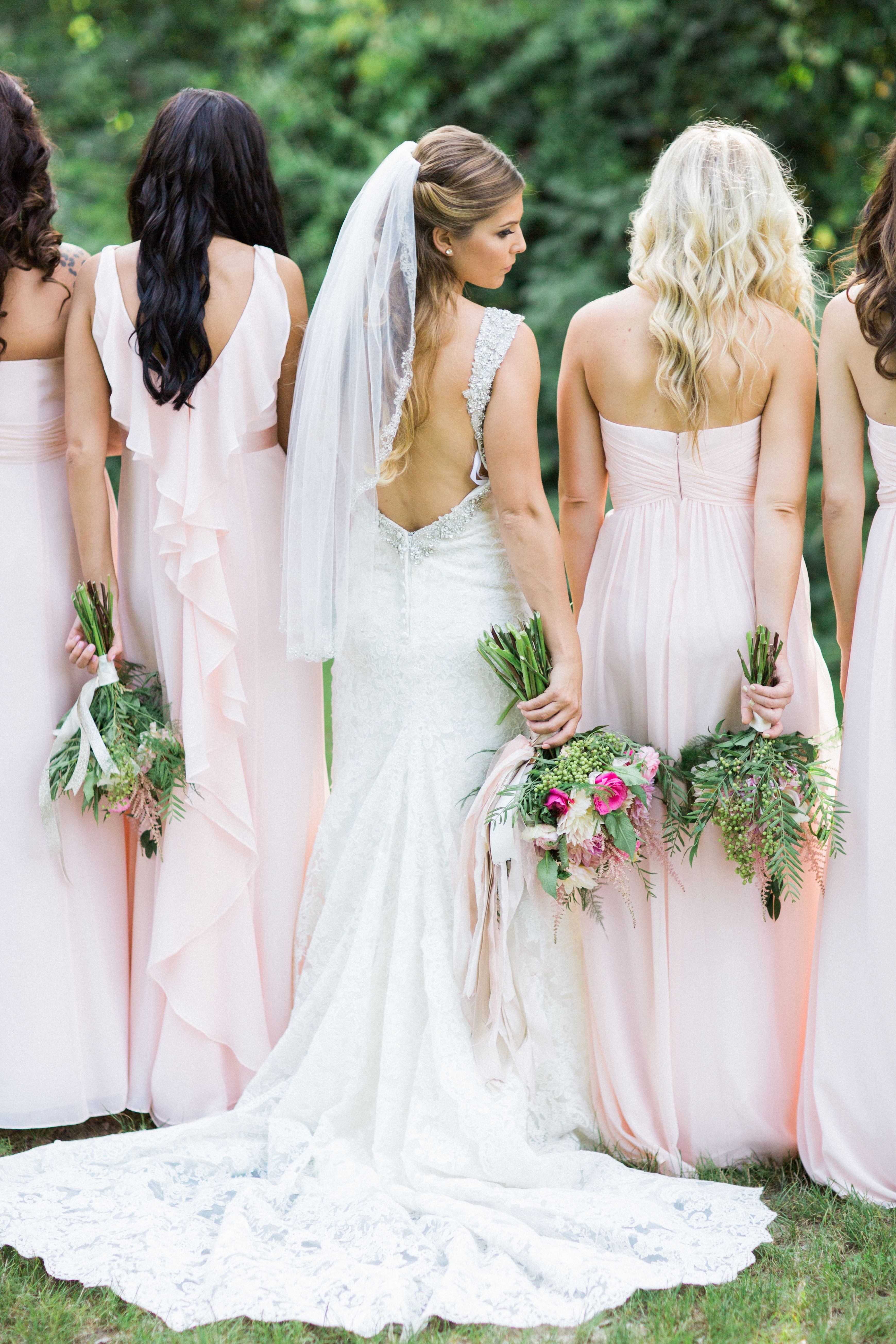Pink davidus bridal chiffon bridesmaid dresses bridesmaid dresses