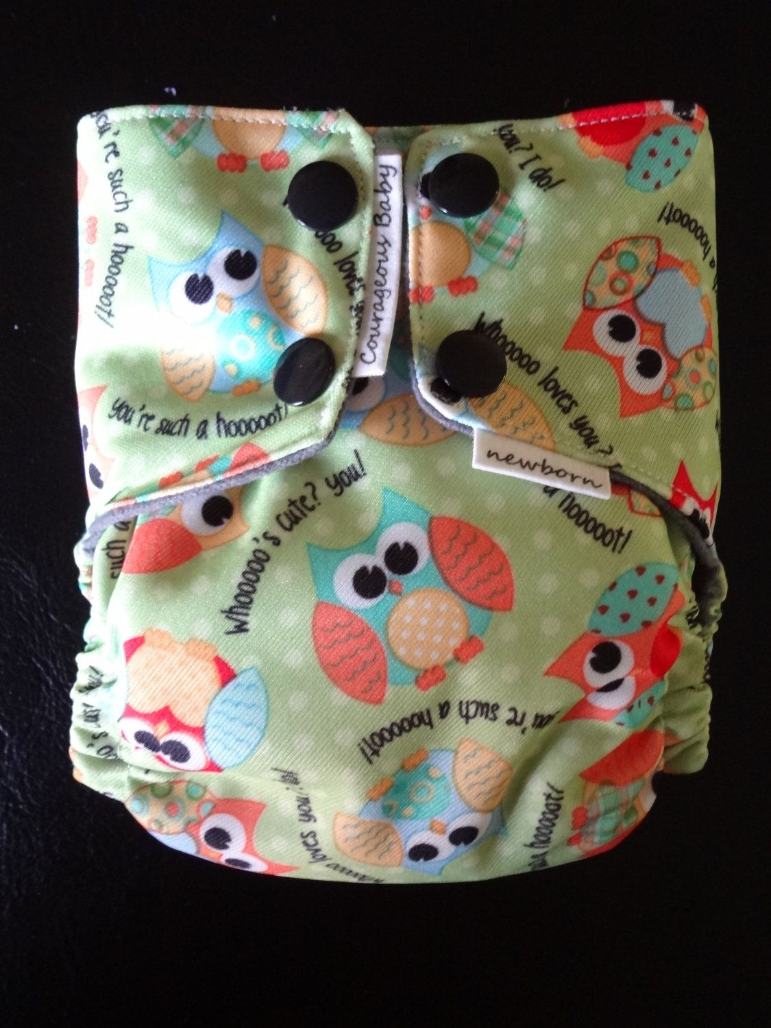 AIO NEWBORN owl fitted diaper. $15.00, via Etsy.